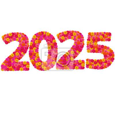Numbers 2025 года сделаны из циннии цветов