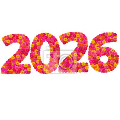 Числа 2026 сделаны из циннии цветов