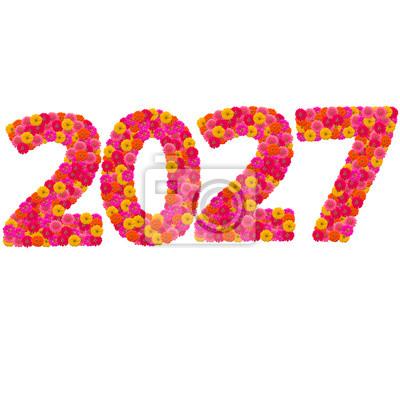 Числа 2027 сделаны из циннии цветов