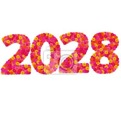 Числа 2028 сделаны из циннии цветов