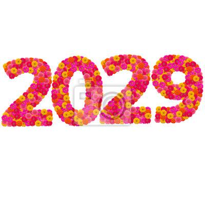 Числа 2029 сделаны из циннии цветов