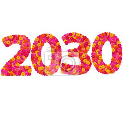 Числа 2030 года сделаны из циннии цветов