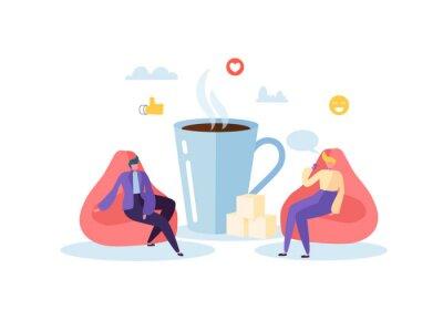 Картина Время обеда в офисе. Деловые люди персонажи на кофе-брейк. Сотрудники говорят, отдыхают и пьют горячие напитки. Векторная иллюстрация
