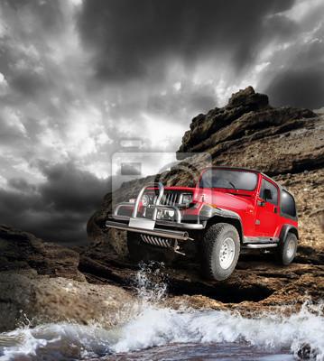 Картина Offroad vehicle на на mountain terrain