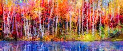 Картина Картина маслом красочные осенние деревья. Semi Абстрактный образ леса, осины с желтым - красный лист и озеро. Осень, осенний сезон фоне природы. Ручная роспись импрессионистов, уличный пейзаж