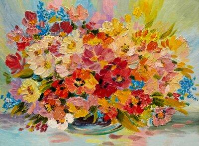Картина Масло - красочный букет из летних цветов на абстрактном фоне