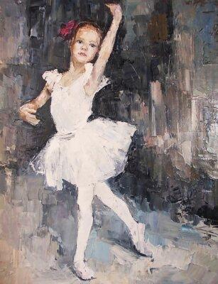 Картина картина маслом, девушка балериной. обращается мило балерина танцует