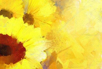 Картина Масло фон золотой подсолнух.