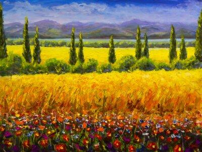 Картина Картина маслом Итальянский пейзаж с тосканским летом, зеленые кипарисы, желтое поле, красные цветы, горы и изображение голубого неба Изображение на холсте