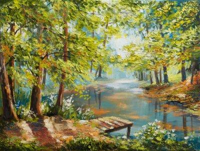 Картина Картина маслом пейзаж - осенний лес у реки, оранжевые листья