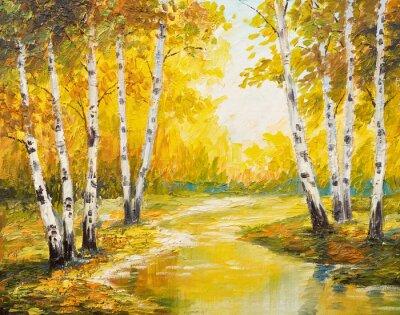 Картина Живопись маслом пейзаж - осенний лес у реки, оранжевые листья