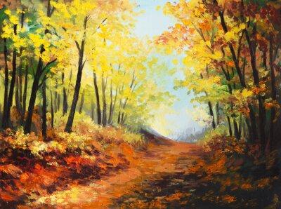 Картина Масло пейзаж - красочные осеннего леса
