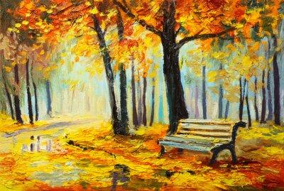 Картина Картина маслом пейзаж - красочные Осенний лес
