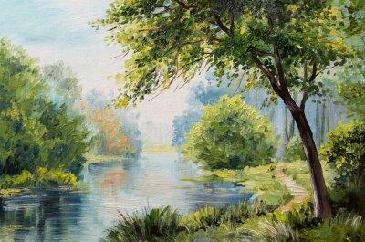 Картина Картина маслом пейзаж - красочный лес