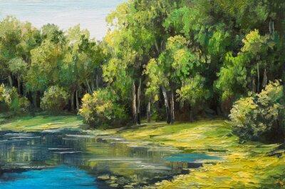 Картина Картина маслом пейзаж - озеро в лесу, летний день