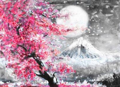 Картина картина маслом пейзаж с сакурой и горы, рисованной иллюстрации, Япония