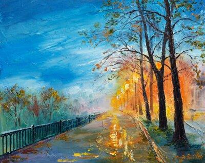 Картина Картина маслом вечерней осенней улицы
