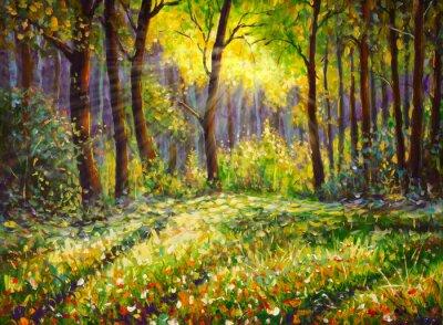 Картина Живопись маслом на холсте современный импрессионизм Солнечный лесной пейзаж