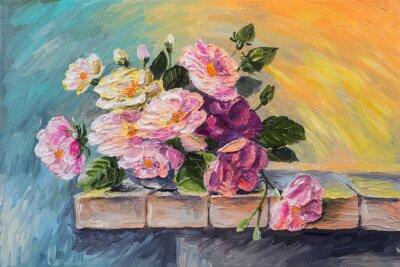 Картина Картина маслом на холсте - натюрморт цветы на столе