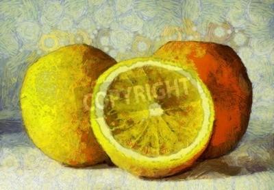 Картина Картина маслом апельсины фрукты на белом