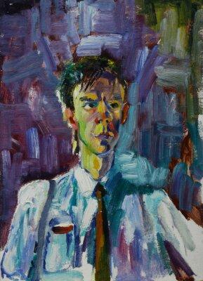 Картина Картина маслом портрет с мужской портрет в яркие цвета на холсте