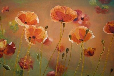 Картина Картина маслом красный мак цветы. Весна цветочные фон природы