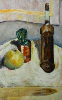 Картина Картина маслом натюрморт с кактусом яблочного бутылкой алкоголя в стиле импрессионизма на холсте
