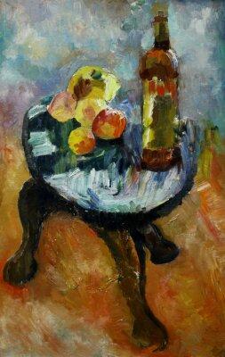 Картина Картина маслом натюрморт с на стуле яблока и персиков в стиле импрессионизма в яркие цвета на холсте