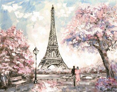 Картина Картина маслом, Просмотр улиц Парижа. Нежный пейзаж, весна
