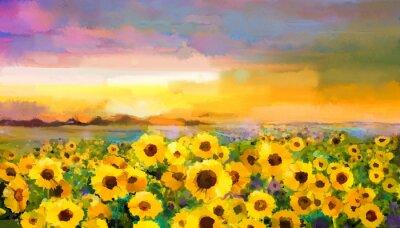 Картина Картина маслом желто- золотой подсолнечника, цветы ромашки в полях. Закат луг пейзаж с диких цветов, холм и небо в оранжевый, синий фон фиолетовый. Рука краски лета цветочные импрессионизма