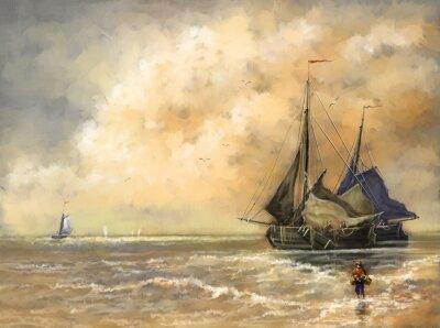 Картина Картины маслом, море, корабли, лодка