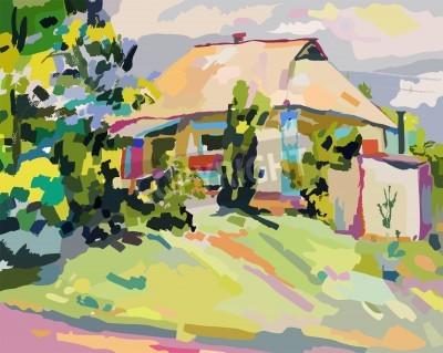 Картина картины маслом летнего деревне