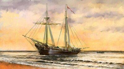Картина Картины маслом морской пейзаж. Суда, лодка, рыбак. Цифровое искусство