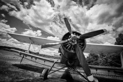 Картина Старый самолет на поле в черно-белом