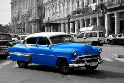 Картина Старый синий американский автомобиль в Гаване, Куба