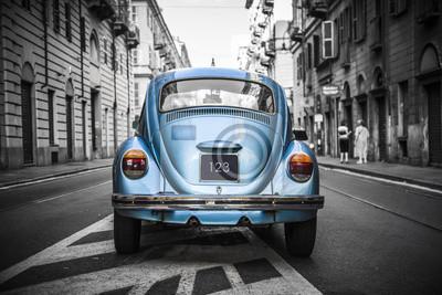 Картина Старый синий автомобиль