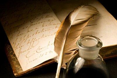 Картина Старая книга с пером и чернильницей