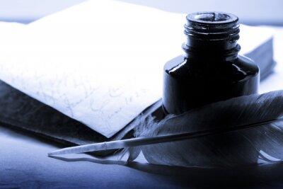 Картина Старая книга с пером и чернильницей в синий