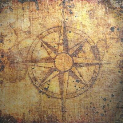 Картина Старый компас на фоне бумаги