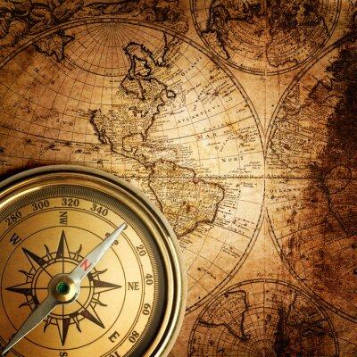 Картина старый компас на урожай карте 1746