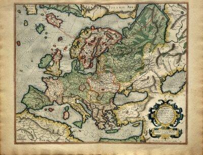 Картина Старая карта Европы, напечатанной в 1587 году по Меркатора