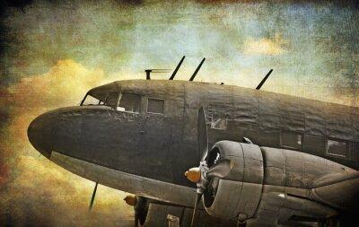 Картина Старый военный самолет, гранж