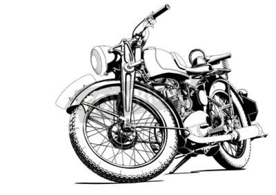 Картина Иллюстрация старый мотоцикл