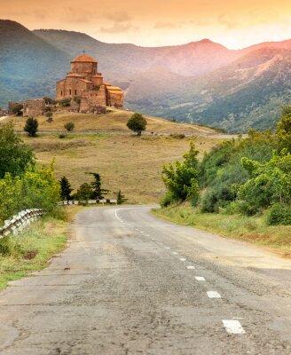 Картина Старый православный храм в Грузии на закате