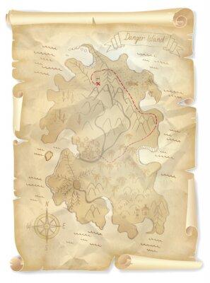 Картина Старый пиратов остров сокровищ карта с отмеченной позиции, векторные иллюстрации