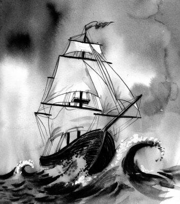 Картина Старый корабль в бурном море