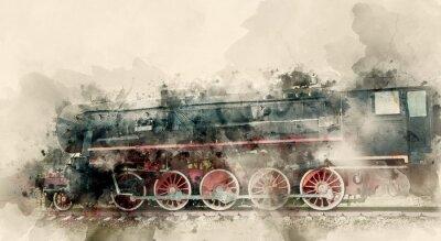 Картина Старые паровозы 20-го века. Акварельный фон