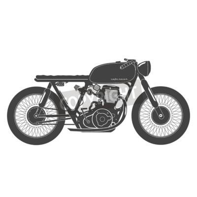Картина Старый старинных мотоциклов. кафе гонщик тема.
