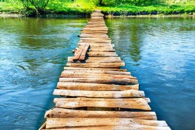 Картина Старый деревянный мост через реку