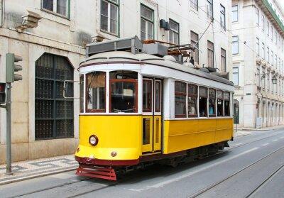 Картина Старый желтый Лиссабон трамвай, Португалия